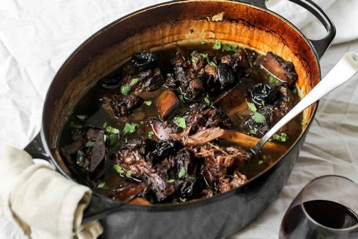 Braised Short Ribs with Plums in Nice Malbec